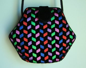 vintage 80s hexagon LA REGALE woven black velvet & ribbon evening bag/clutch