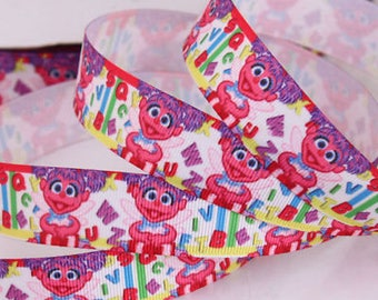 """1 yard of 7/8"""" 22mm Sesame Street Zoe grosgrain printed ribbon great for hairbow crafts scrapbooking sewing hair crafts"""