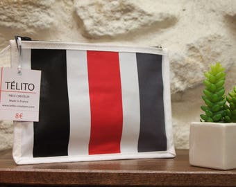 Black, red and gray stripe oilcloth pouch