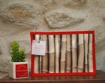 Bamboo oilcloth pouch