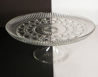 "Federal Glass Cake Plate Stand Windsor Button Cane 11"" Round Clear Glass"