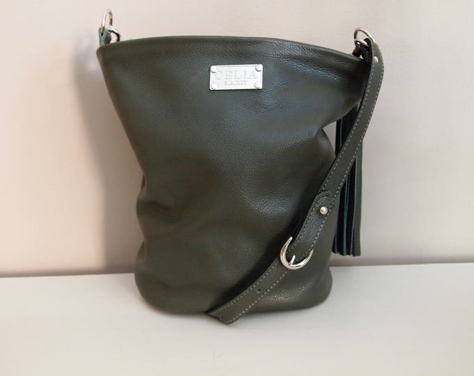 SAGE Handmade Small Leather Bucket Bag/ Hobo Bag