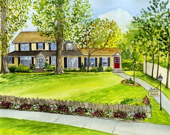 House watercolor painting/Custom watercolor house drawing/Custom house portrait/Watercolor house drawing/Anniversary Gift/Wedding gift