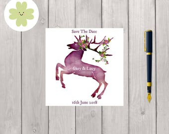 Deer with flowers save the date, wedding stationery