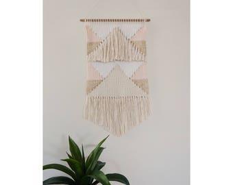 Geometric Bohemian Gold and Blush Woven Wall Hanging - Ready to Ship!