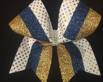 Two color glitter sequin dot cheer bow