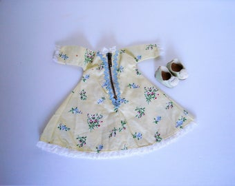 Vintage Ginny Clothes Housecoat # 186 and Oilcloth Pom Pom Slippers