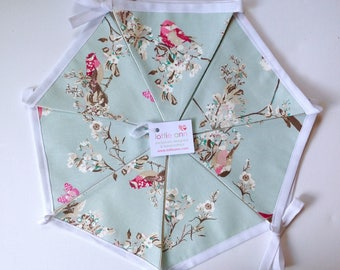 Beautiful Birds Bunting, Butterflies Bunting, Duck Egg Blue Bunting, Fabric Bunting, Lined Bunting, Decoration