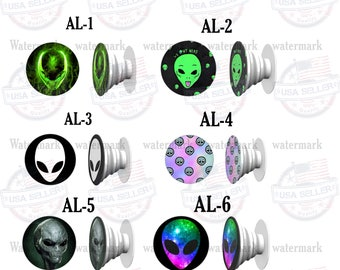 Pop Socket Alien Design Smart Phone Tablet Expanding Pop Up Stand Grip Holder Popsocket