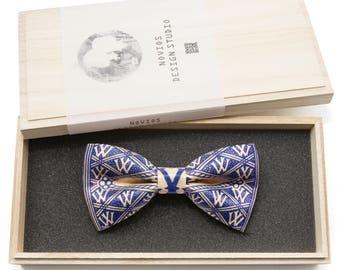 Blue Vintage pattern Bowtie -Graduation Gift, Toddler Bowtie , Wedding Ties, Groomsmen bow tie, Pre Tied and Adjustable Novioshk, H0090