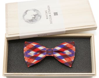 Preppy Stripes Red Bowtie -Graduation Gift, Toddler Bowtie , Wedding Ties, Groomsmen bow tie, Pre Tied and Adjustable Novioshk, H0011