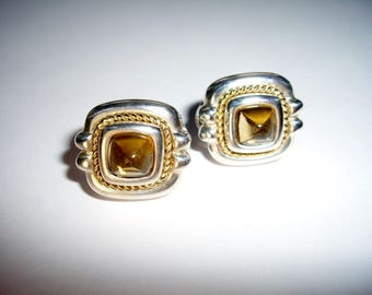 Tiffany Sterling Silver 18K Gold Citrine Earrings, Vintage