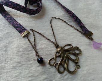 Liberty black & purple Octopus necklace