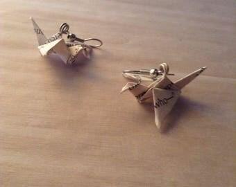Paper Crane Dangle Earrings