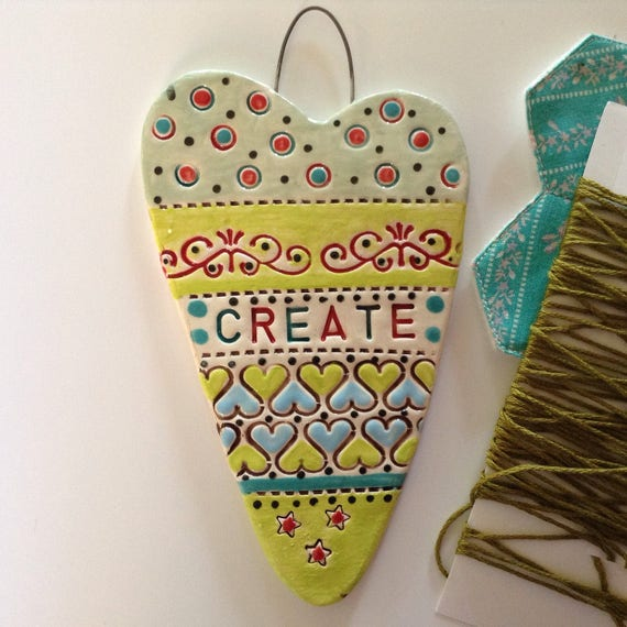 Handmade Ceramic Hanging heart, pattern, colour, folk art, create, stitch, knit, quilt, crochet