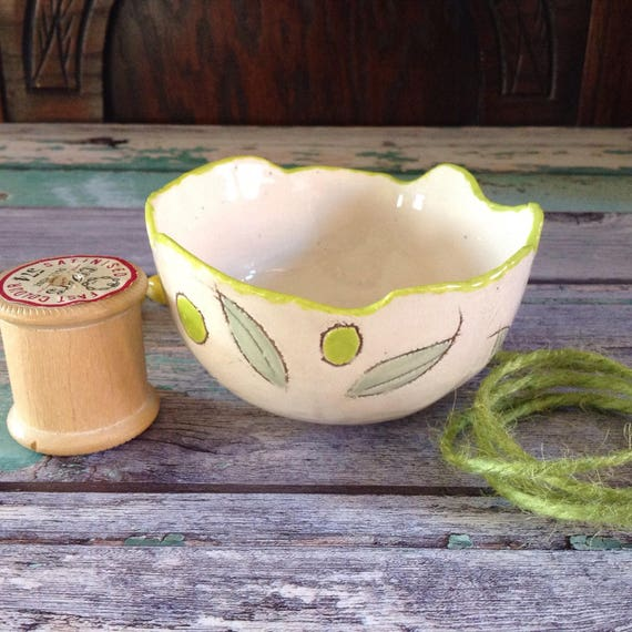 Handmade Ceramic decorative bowl, ornamental, spring leaves, small dish