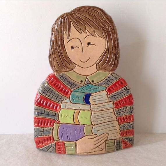 IN STOCK : Lady with Books.  Handmade ceramic bust, mini-bust, Colourful People, collectible, one of a kind
