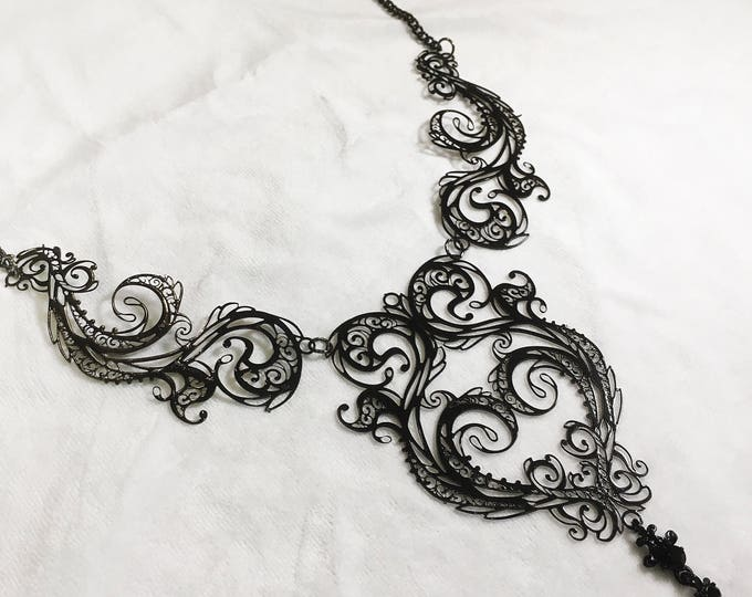 Metal Filigree Jewelery , handmade in italy adjustable 3 piece necklace labyrinth style
