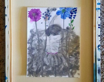 Pencil Drawing Of Girl In A Bed Of Flowers