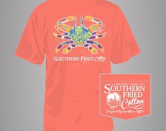 Southern Folk Crab - Adult Pocket T-Shirt - Southern Fried Cotton