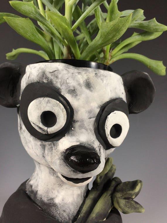 Po Panda // Bears // Succulent Planter // Office Decor // Home Decor // Small Sculpture // Animal Planter // Ceramics // Sculpture// Pothead