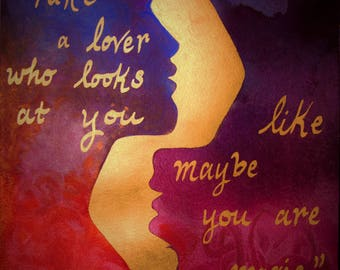 Colourful Gold Painting Romantic Lovers Words