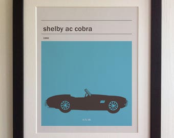 FRAMED Shelby AC Cobra Print - Black/White Frame, Birthday, Anniversary, Father's Day, Christmas, Fab Picture Gift