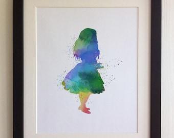 """FRAMED Alice in Wonderland Print, 12""""x10"""" Black or White Frame, Modern Art"""