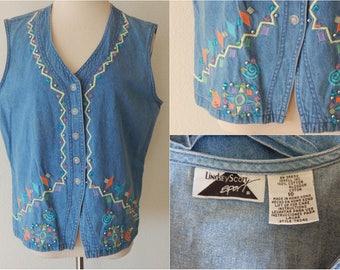 Vtg Embellished Vest Size 10 Cotton Denim Light Wash Zig Zag Beads Buttoned (R2-764)
