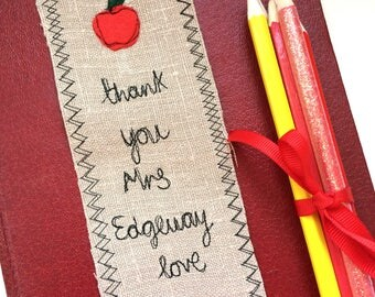 Thank you teacher freehand embroidered bookmark