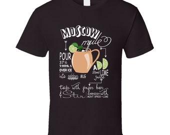 Moscow Mule Drink Recipe Cool Drinking Fan T Shirt