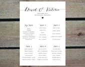 PRINTABLE Table Plan PDF  Personalised Calligraphy Heart Wedding Seating Chart  DIY Digital Download Only  Rustic Vintage Barn Farm