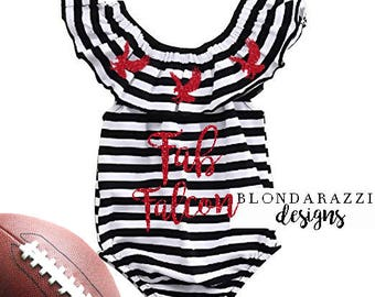 Baby Girl Romper Football Outfit - Falcons Black White Stripes with Red Glitter - Fab Falcon
