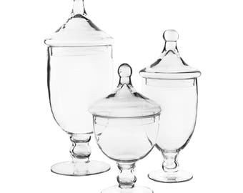 Apothecary Jar Glass Candy Buffet Jar Set of 3 pcs #GAJ111112113