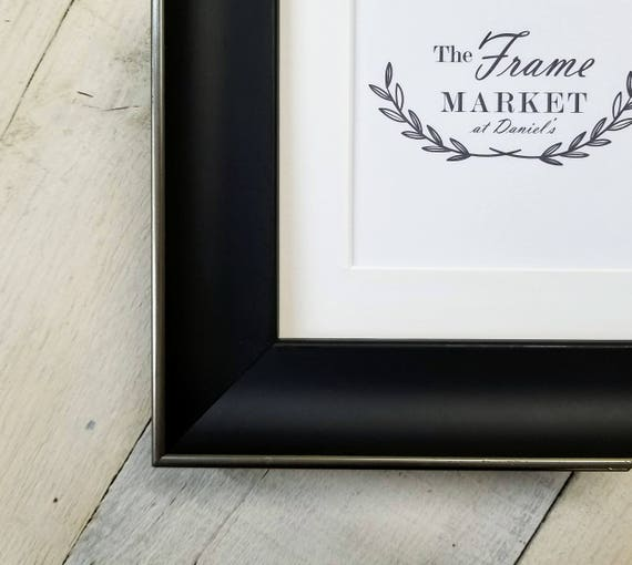 Enda Black W Silver Wood Picture Frame With White Mat 8x10