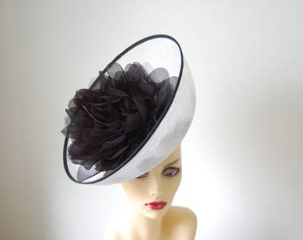 White & Black Feature fascinator on hairband