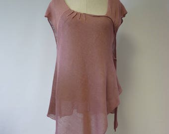 Summer asymmetrical powder pink linne tunic, L size.