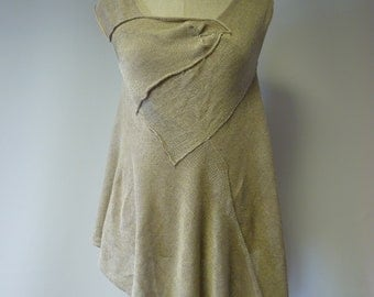Taupe asymmetrical  linen top, L size. Made of pure linen, only one sample.