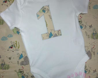 Peter Rabbit outfit - 1 vest - Peter Rabbit birthday party - boys first birthday outfit - girl's 1st birthday clothes - Number 1 vest