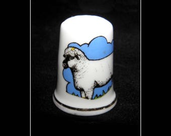Vintage Porcelain Thimble Birchcroft Fine Bone China Made in Gr Britain Sheep Nr 4