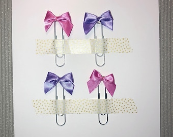 4x Pink & Purple Satin Bow Paperclips