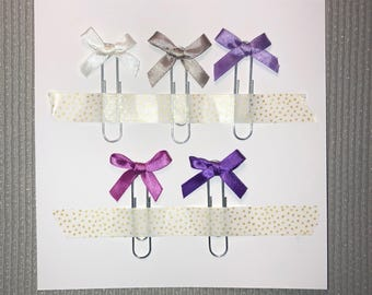 5x Purple Satin Bow Paperclips