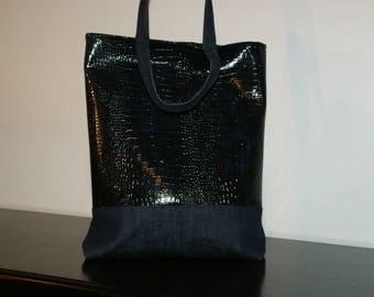 Tote bag in faux leather Croc Navy and Blue Jean blue double cotton blue.
