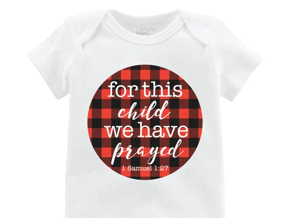 "Boy ""for this child we have prayed"" Red Black Buffalo Plaid We Have Prayed Adoption Infertility Onesie Boy Newborn Going Home Outfit Raglan"