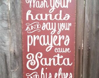Christmas decoration, Christmas sign, Christmas decor, Santa, santa decor, Wash Your Hands Santa sign, Santa decoration, Santa sign