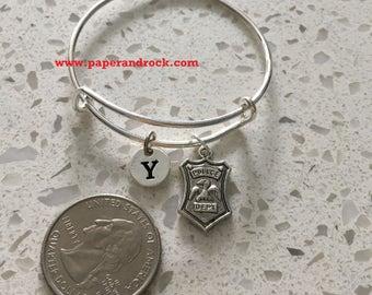 Police badge initial bangle,  police jewelry, police wife jewelry gift, gift for policewoman, police bracelet, law enforcement jewelry