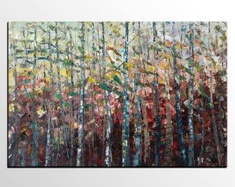 Original Oil Painting, Large Wall Art, Birch Tree Painting, Canvas Art, Canvas Painting, Abstract Painting, Landscape Art, Modern Painting