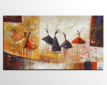 Abstract Art, Ballet Dancer Painting, Canvas Art, Bedroom Wall Art, Canvas Art, Large Art, Original Art, Contemporary Art, Modern Wall Art