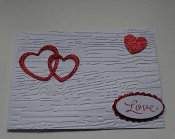 Valentine's Day card white glittery red heart