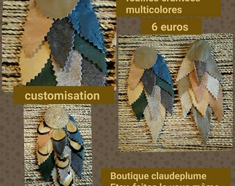 2 application leaves multi-colored leather